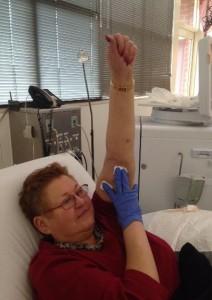 Connie raises her arm