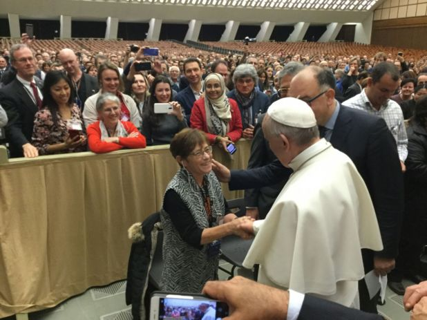 Lorraine with Pope Francis